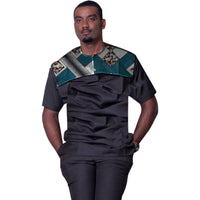 African Ankara Short-Sleeve O-Neck Dashiki Patchwork Top For Men Y10489