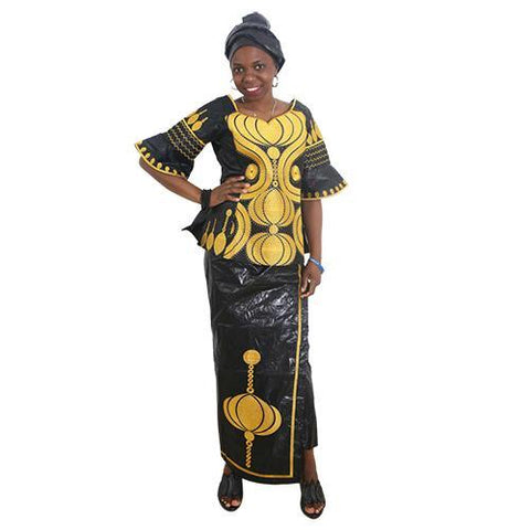 African Clothes Embroidery Dashiki Dress Woman Tops Pant Set Bazin Riche - Afrinspiration