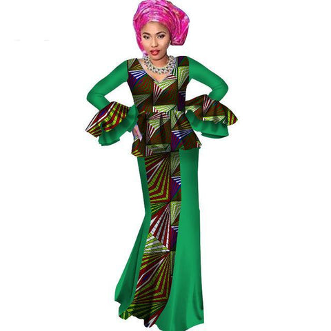 Africa Women Dashiki Two Pieces Top Skirt Custom African Dashiki X11065