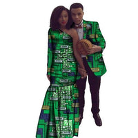 African Couples Clothing Dashiki Wax Blazer For Man and Long Dress For V11701