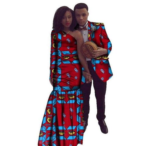 64bc02db89f African Couples Clothing Dashiki Wax Blazer For Man and Long Dress For  V11701