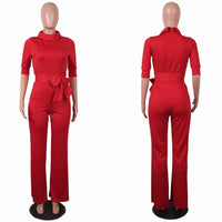 Casual Sashes Turtleneck Women Jumpsuit Half Sleeve Top Long Loose X40382