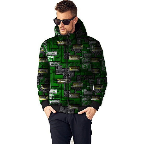 African Print Thick and Warm Winter Jacket Parka Outerwear Coat for Men Y10516