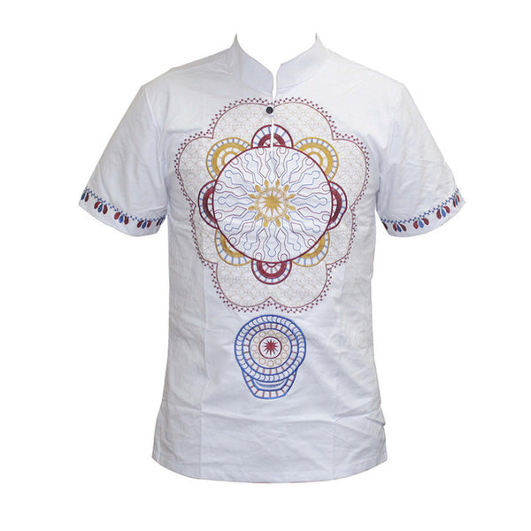 Flower Emboridery African Design Stand Neck Short Sleeve Fitted  Y20463