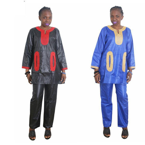 Women Dashiki Soft Fabric Blue Red Black etc Top-Pants With Embroidery X20658