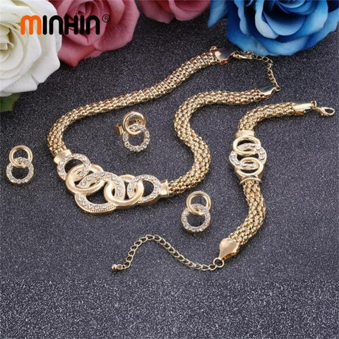 Minhin Ladies Vintage Jewelry Sets African Beads Statement Necklace Q50161