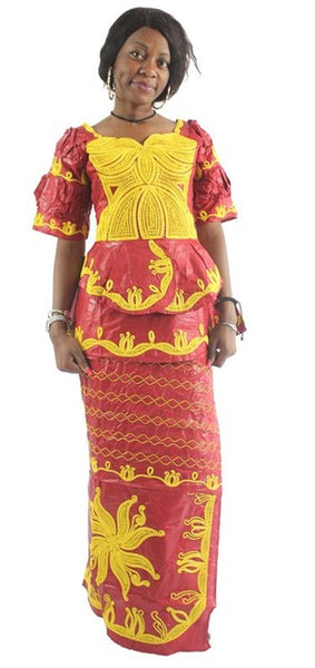 African Women Traditional Embroidery Dress Tops Skirts Set Bazin Riche X20925