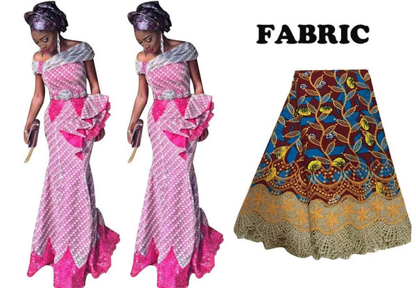 African Traditional Lace Splice Long Dress For X30915