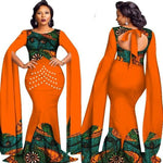 African Plain and Pattern Print Pearls Long Dress For X11481