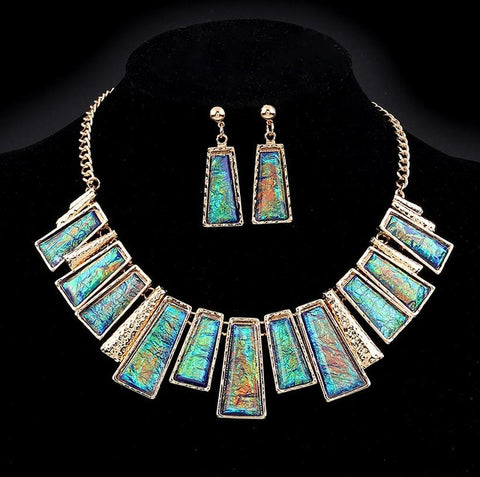 Minhin New Fashion Jewelry Set Green Rectangle with Colorful Pattern Q50172