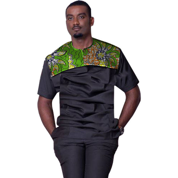 African Cotton Print Patchwork O-Neck Short Sleeve Top For Men Y10506