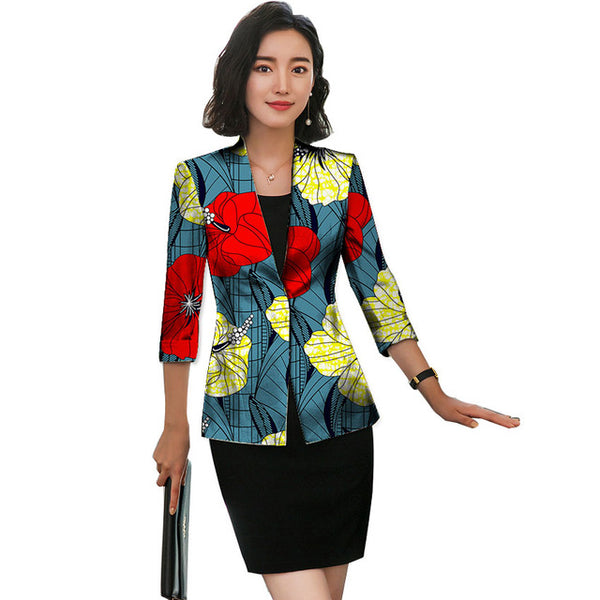 Customized African Ladies 3-Quarter Sleeve Kitenge Blazer Suit  X10441
