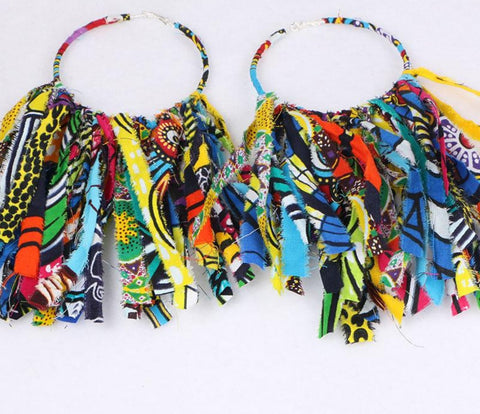 African Cloth Fabric Earrings Handmade Earrings with Tassels For Women Q11782