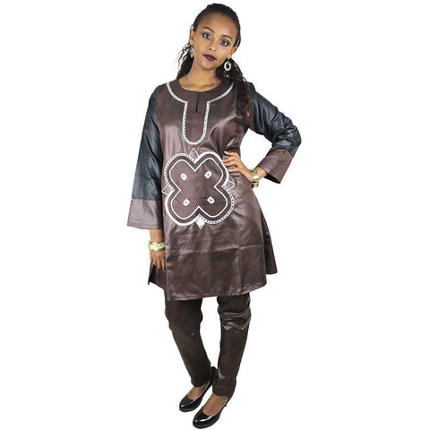 Women Dashiki Soft Fabric Brown Top and Pants With White Embroidery X20665