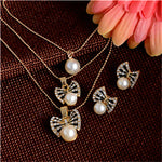 Austrian Crystal Golden Plated Jewerly Sets For Women Cat'S Eye Stones Q50177