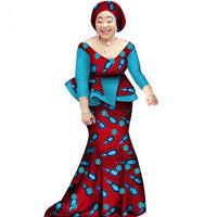 African Women Two Piece O Neck Print Skirt Set African Clothing X11064