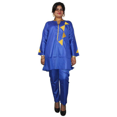 Women Dashiki Soft Fabric Blue Top-Pants Set With Gold Embroidery X20666