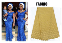 African Style Swiss Lace Skirt-Set Dress with Head-tie for X31137