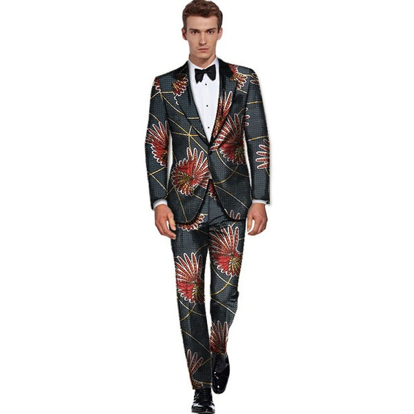 Tailored African Cotton Wax Pront Clothing Men Blazer Suit with Pants Y10899