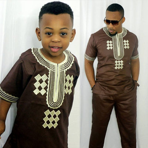 Embroidered Dashiki shirts pants 2 piece set for Africa kids V21594