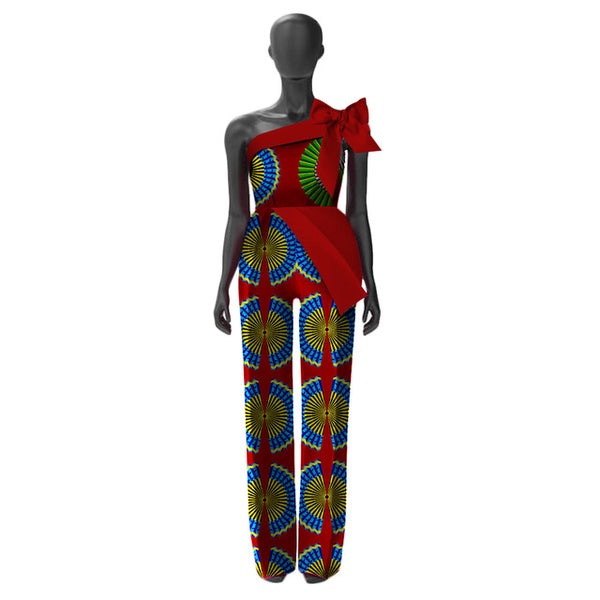 African Women Jumpersuit with Print Sexy Overalls Women X11557