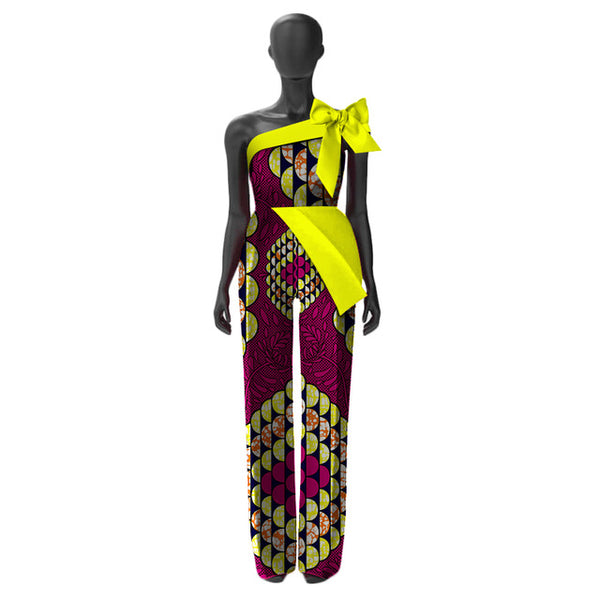 African Women Jumpersuit with Print Sexy Overalls Women X11564