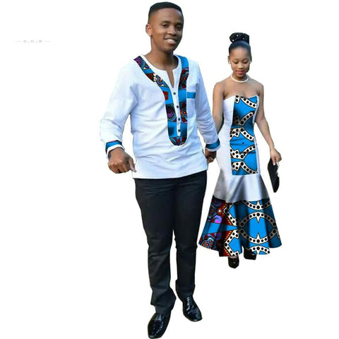 New Year African Dashiki For Women Dress Bazin Riche Men Skirt  V11708