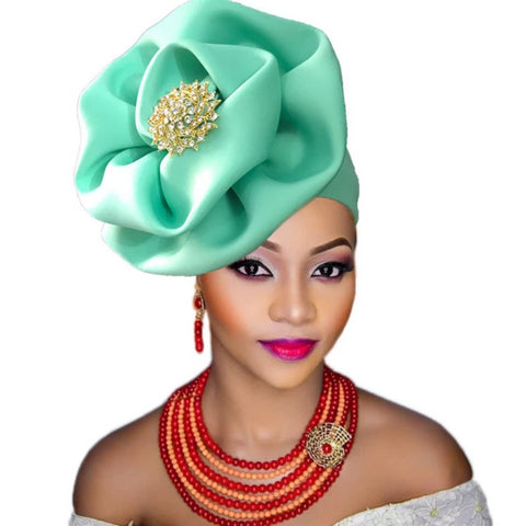 Africa Nigerian Aso Ebi Headtie Ready To Wear Auto Gele Q11729-2
