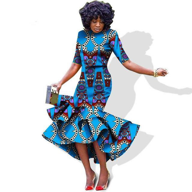 3e7fce57594 Plus size Formal African Wax Print Dresses with Scarf For X11479