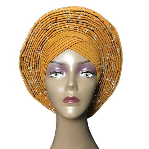 Nigerian Gele Headtie Already Made Auto Gele Turban Cap African Aso Ebi Q11728