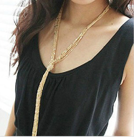 All-Match Multi-Layers Long Tassel Chain Necklace Women Classic Design Q50142