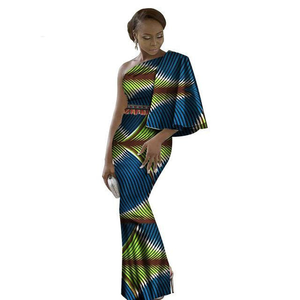 Dashiki Bazin Riche Long Cotton African Dresses For X11483