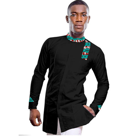 African Mens Kente Dashiki Cotton Wax Print Patchwork Shirt For Men Y10505