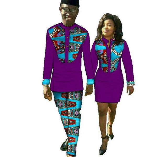 African Couples Matching Clothing Dashiki Print Top-Pants with Dress For V11705