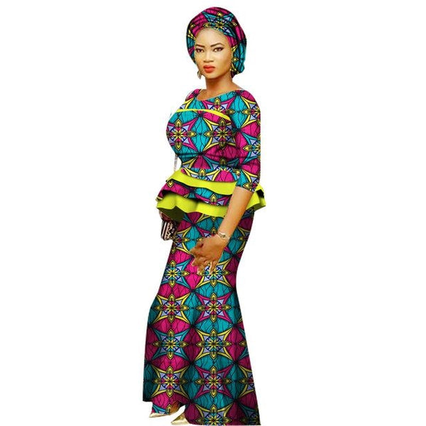 African Prom Dresses For Women O-Neck Cotton Top-Skirt Set Ladies X11046