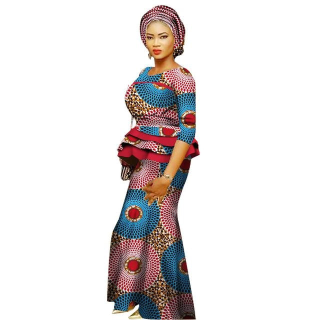 9586af89613 African Prom Dresses For Women O-Neck Cotton Top-Skirt Set Ladies Clothing