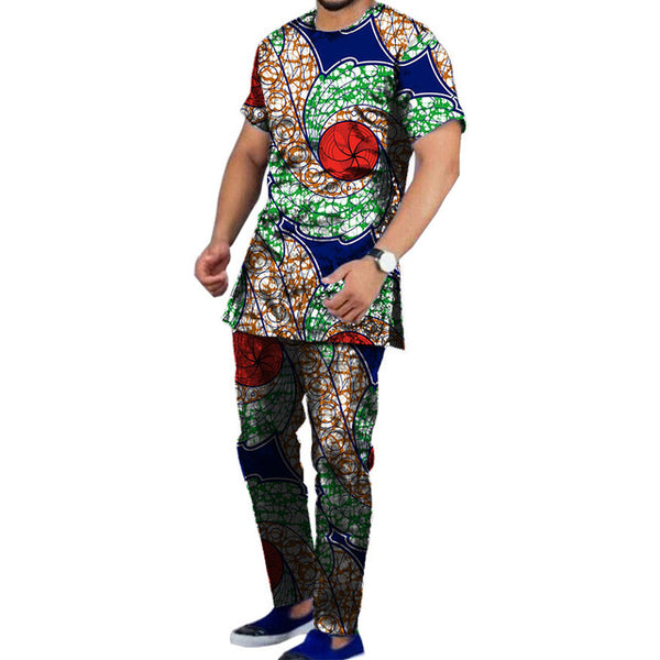 African Fashion Men'S Set Dashiki Shirt with Pant 2 Pieces Wax Print Y10865
