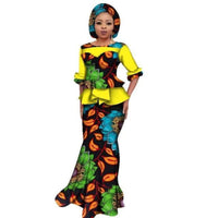 African Dashiki For Women O Neck Skirt Set Natural Bazin Riche X11059