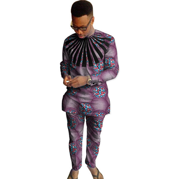African Clothing Men Custom Made Dashiki Long Sleeve O-Neck Top-Pants Y10862
