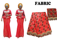 African Bazin Dresses For Women Lace Embroidered Top-Skirt Set 1Pc X30918