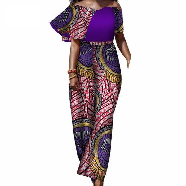 African Clothing Romper Jumpsuits For Women Slash-Neck Sexy Overalls X11548