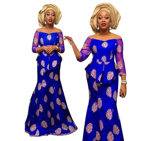 African Bazin Riche Top-Skirt Set For Women Vestidos Party Embroidered X30916