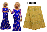 African Women Vestidos Bazin Riche Lace Top and Skirt X30908