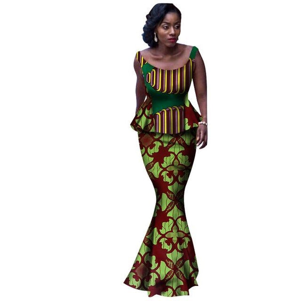 African Clothing Women Ankle-Length 2Piece Top-Skirt Set O-Neck Dashiki X11044