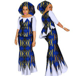 African Women Dashiki Cotton Crop Top and Skirt Set with Scarf Tailor X11040