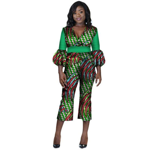 African Women Jumpersuit Clothing V-Neck Dashiki Kitenge Wax Print Custom X11554