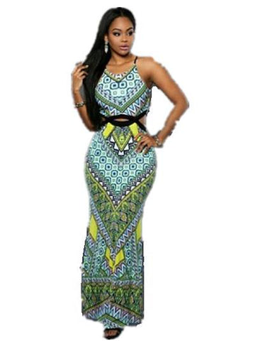 New Fashion Hollow Out Slit Long Print Dresses Spaghetti Strap Bodycon X40347