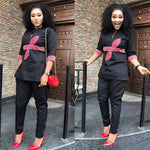 Women Dashiki Black Top-Pants Set with Red Bow Embroidery Design X20635