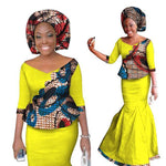 2018 New African Skirt Set For Woman Skirt Set Women Dashiki New Elegant 2 Piece Sets Print Wax Top + Skirt+Headscarf Wy1336