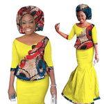 2018 New African Skirt Set For Woman Skirt Set Women Dashiki New Elegant 2 Piece Sets Print Wax Top + Skirt+Headscarf Wy1336 - 6 / M